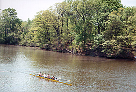 [color photograph of crew team on College Creek, Annapolis, Maryland, April 2000]